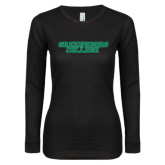 Ladies Black Long Sleeve V Neck T Shirt-Wordmark