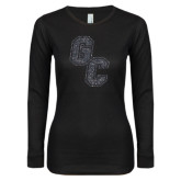 Ladies Black Long Sleeve V Neck T Shirt-GC Graphite Glitter