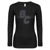Ladies Black Long Sleeve V Neck Tee-GC Graphite Glitter