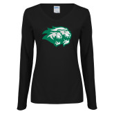 Ladies Black Long Sleeve V Neck Tee-Lions