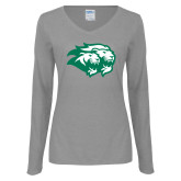 Ladies Grey Long Sleeve V Neck Tee-Lions