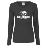 Ladies Dark Heather Long Sleeve V Neck Tee-Primary Mark