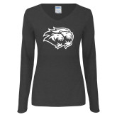 Ladies Dark Heather Long Sleeve V Neck Tee-Lions