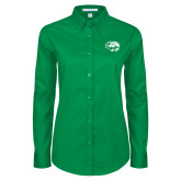 Ladies Kelly Green Twill Button Down Long Sleeve-Lions