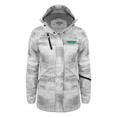 Ladies White Brushstroke Print Insulated Jacket-Solid Wordmark