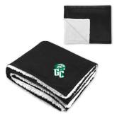 Super Soft Luxurious Black Sherpa Throw Blanket-GC w Lions