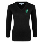 Ladies Black V Neck Sweater-Official Logo