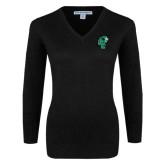 Ladies Black V Neck Sweater-Official Logo