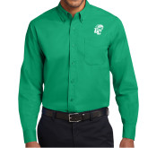 Kelly Green Twill Button Down Long Sleeve-GC w Lions