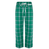 Green/White Flannel Pajama Pant-Solid Wordmark
