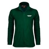 Ladies Fleece Full Zip Dark Green Jacket-Solid Wordmark