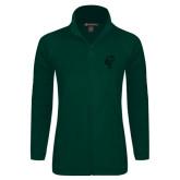 Ladies Fleece Full Zip Dark Green Jacket-Official Logo