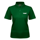 Ladies Dark Green Dry Mesh Polo-Solid Wordmark