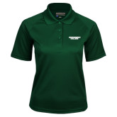 Ladies Dark Green Textured Saddle Shoulder Polo-Solid Wordmark