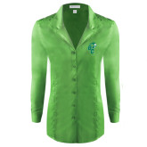 Ladies Red House Green Herringbone Non Iron Long Sleeve Shirt-Official Logo