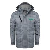 Grey Brushstroke Print Insulated Jacket-Solid Wordmark