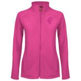 Ladies Fleece Full Zip Raspberry Jacket-Official Logo