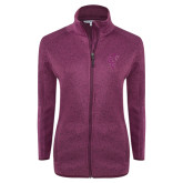 Dark Pink Heather Ladies Fleece Jacket-Official Logo