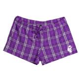 Ladies Purple/White Juniors Flannel Plaid Boxer-Official Logo