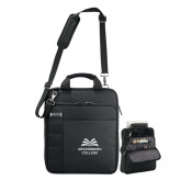 Kenneth Cole Black Vertical Checkpoint Friendly Messenger-Greensboro College