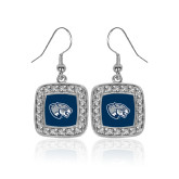 Crystal Studded Square Pendant Silver Dangle Earrings-Jaguar Head