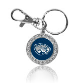 Crystal Studded Round Key Chain-Jaguar Head