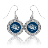 Crystal Studded Round Pendant Silver Dangle Earrings-Jaguar Head