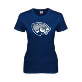 Ladies Navy T Shirt-Jaguar Head