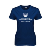 Ladies Navy T Shirt-University Mark