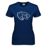 Ladies Navy T Shirt-Jaguar Head Rhinestone