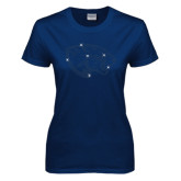 Ladies Navy T Shirt-Jaguar Head Rhinestone