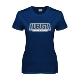 Ladies Navy T Shirt-Track and Field