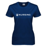 Ladies Navy T Shirt-Nursing