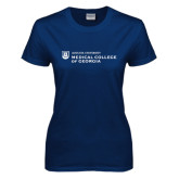 Ladies Navy T Shirt-Medical College of Georgia