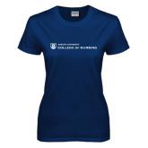 Ladies Navy T Shirt-College of Nursing