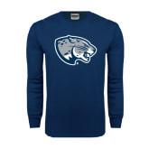 Navy Long Sleeve T Shirt-Jaguar Head