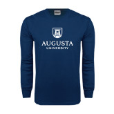 Navy Long Sleeve T Shirt-University Mark