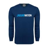 Navy Long Sleeve T Shirt-Jaguar Nation
