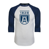 White/Navy Raglan Baseball T-Shirt-University Mark 1828