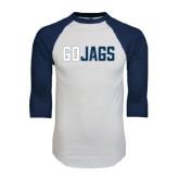 White/Navy Raglan Baseball T-Shirt-Go Jags