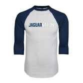 White/Navy Raglan Baseball T-Shirt-Jaguar Nation