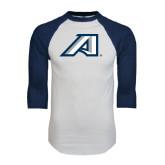 White/Navy Raglan Baseball T-Shirt-Victory A