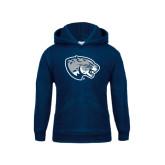 Youth Navy Fleece Hood-Jaguar Head