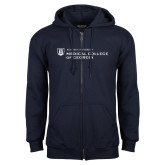 Navy Fleece Full Zip Hoodie-Medical College of Georgia