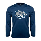 Performance Navy Longsleeve Shirt-Jaguar Head