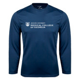 Performance Navy Longsleeve Shirt-Medical College of Georgia