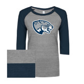 ENZA Ladies Athletic Heather/Navy Vintage Triblend Baseball Tee-Jaguar Head