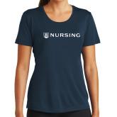 Ladies Syntrel Performance Navy Tee-Nursing