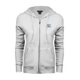 ENZA Ladies White Fleece Full Zip Hoodie-Victory A
