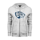 ENZA Ladies White Fleece Full Zip Hoodie-Jaguar Head
